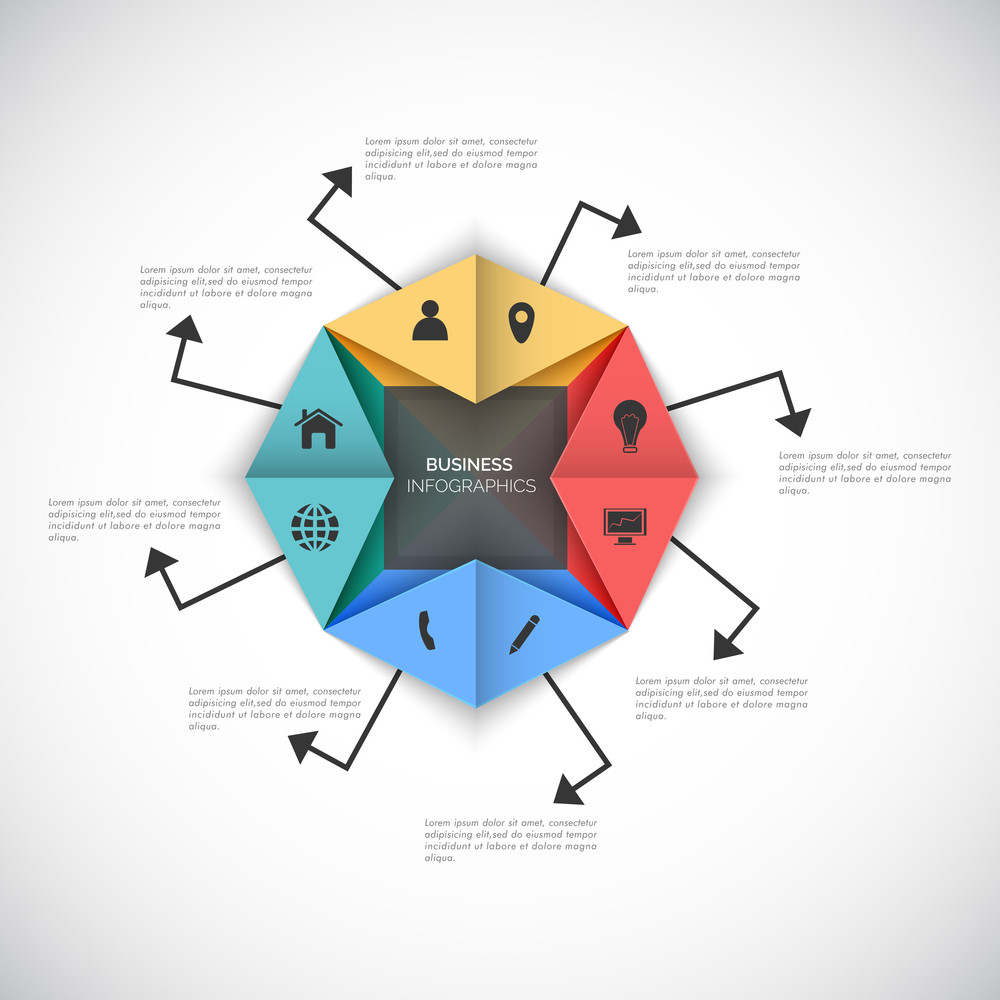 Colorful paper infographic element with different web symbols for Business reports and presentation.