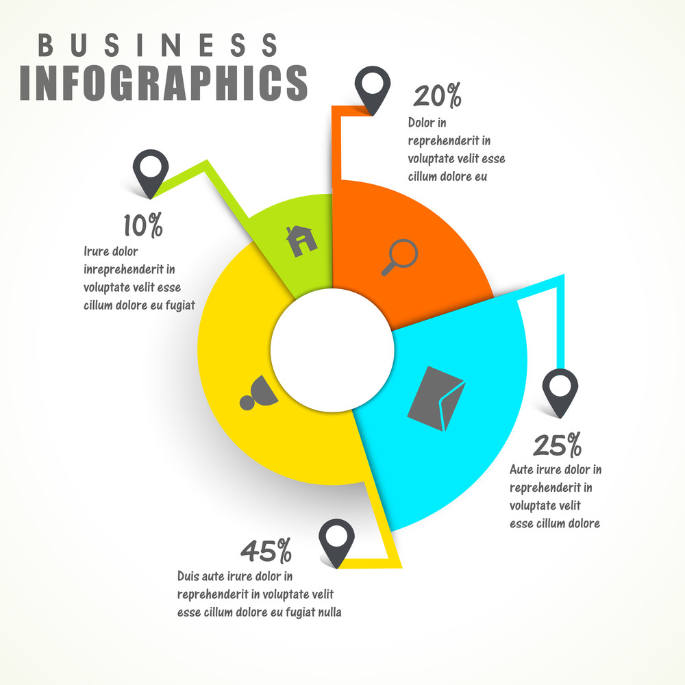 Colorful Statistical Pie Chart With Web Symbols On White Background