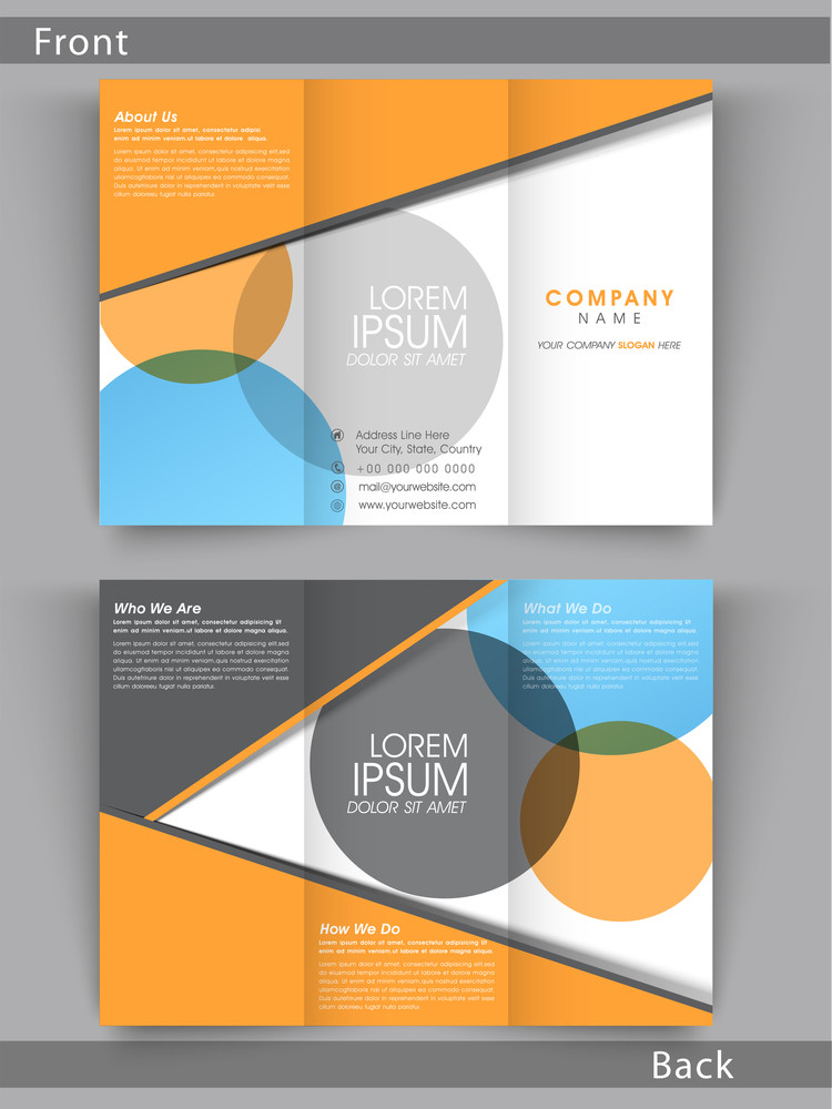 Colorful Tri Fold Flyer Template Or Brochure Design With Place