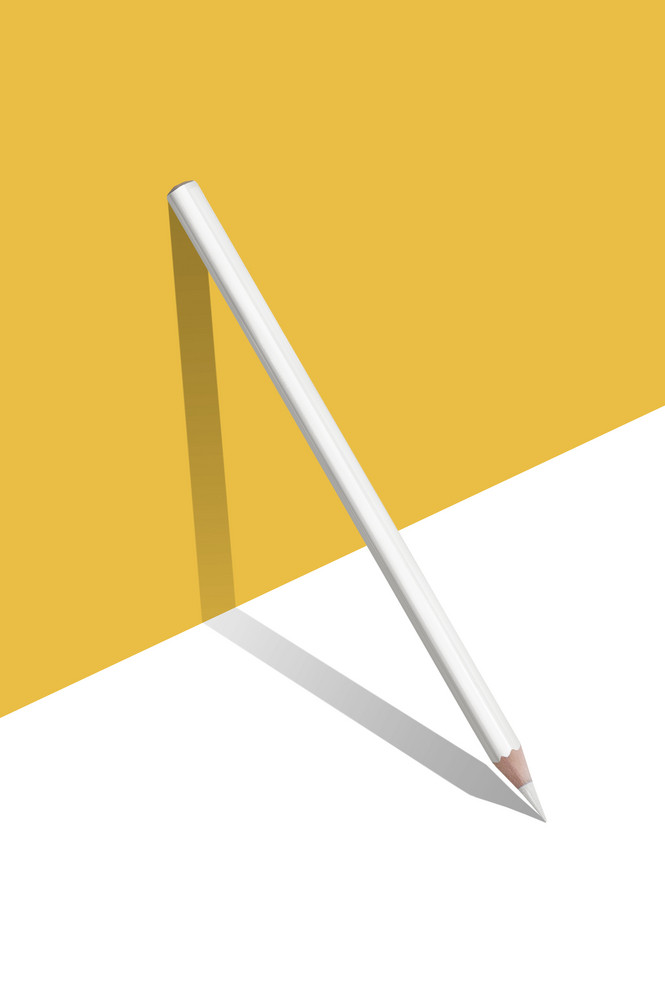 composition of Yellow and white color pencils