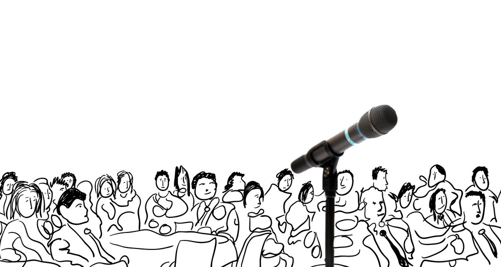 Conceptual illustration with microphone and hand drawn people