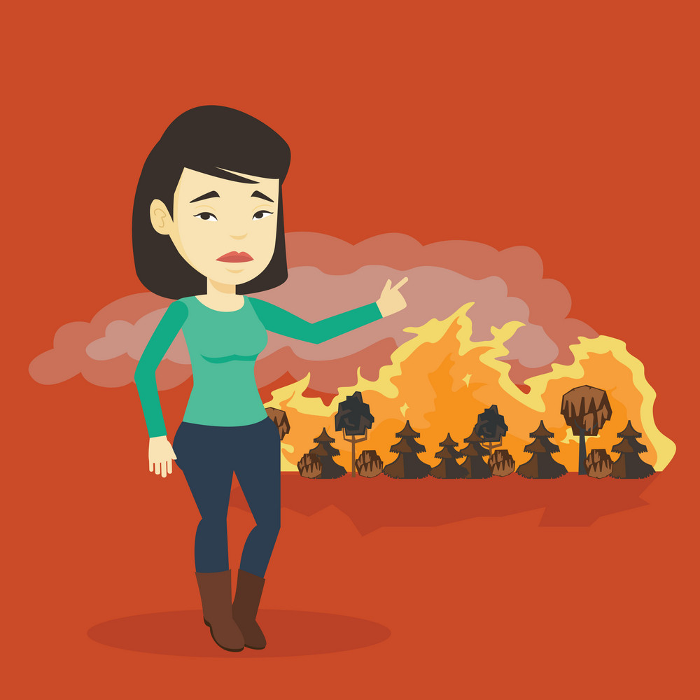 Concerned asian woman pointing at forest in fire. Frustrated woman standing on the background of a big forest fire. Environmental destruction concept. Vector flat design illustration. Square layout.