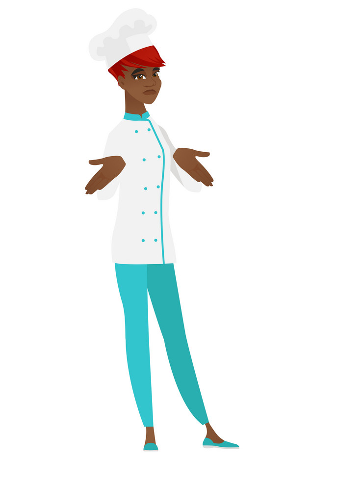 Confused african-american chef cook shrugging her shoulders. Full length of doubtful chef cook gesturing hands and shrugging her shoulders. Vector flat design illustration isolated on white background