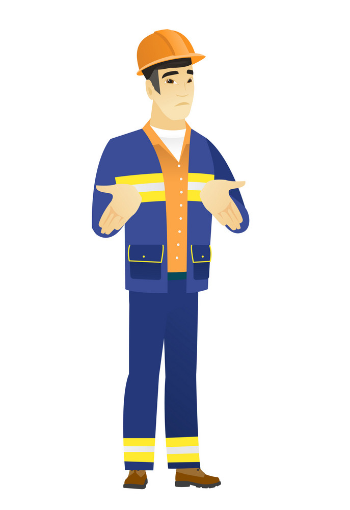Confused asian builder shrugging his shoulders. Full length of doubtful young builder gesturing hands and shrugging his shoulders. Vector flat design illustration isolated on white background.