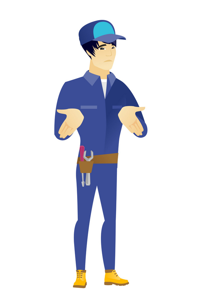 Confused asian mechanic shrugging his shoulders. Full length of doubtful mechanic gesturing hands and shrugging his shoulders. Vector flat design illustration isolated on white background.