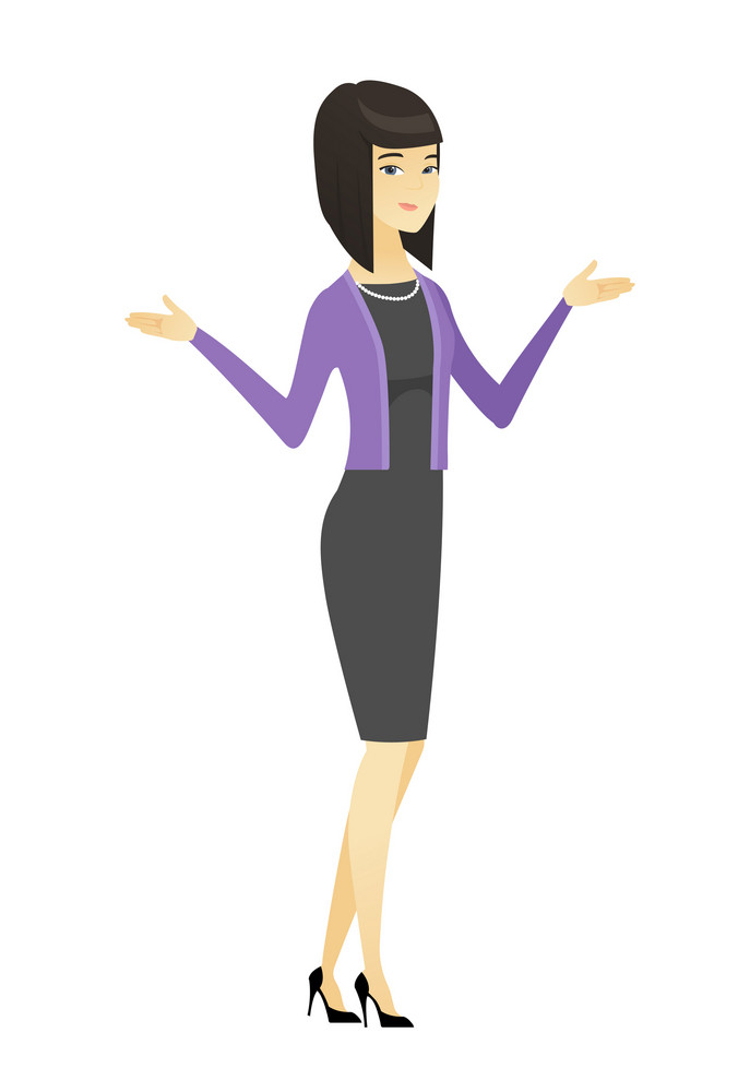 Confused business woman with spread arms. Full length of confused asian business woman. Young confused business woman shrugging shoulders. Vector flat design illustration isolated on white background.