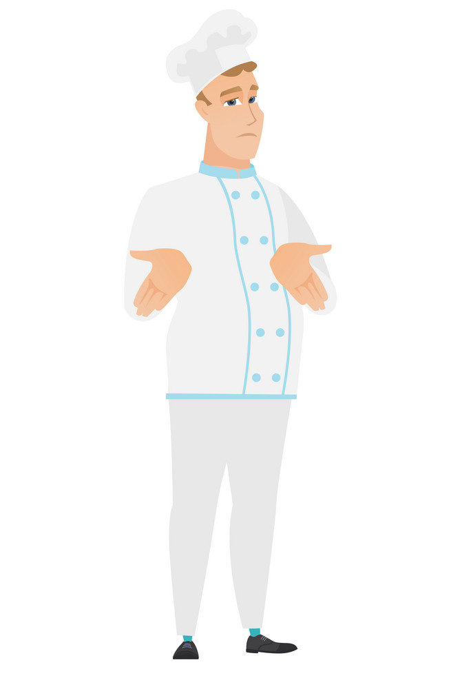 Confused caucasian chef cook shrugging his shoulders. Full length of doubtful chef cook gesturing hands and shrugging his shoulders. Vector flat design illustration isolated on white background.