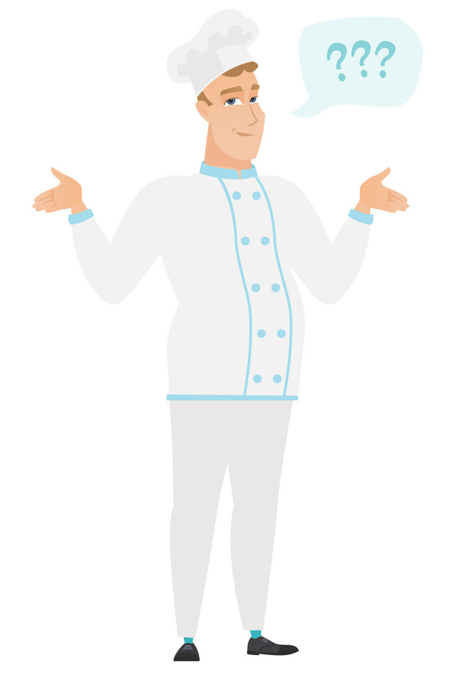 Confused chef cook with spread arms. Full length of confused chef cook with question marks. Confused chef cook shrugging his shoulders. Vector flat design illustration isolated on white background.