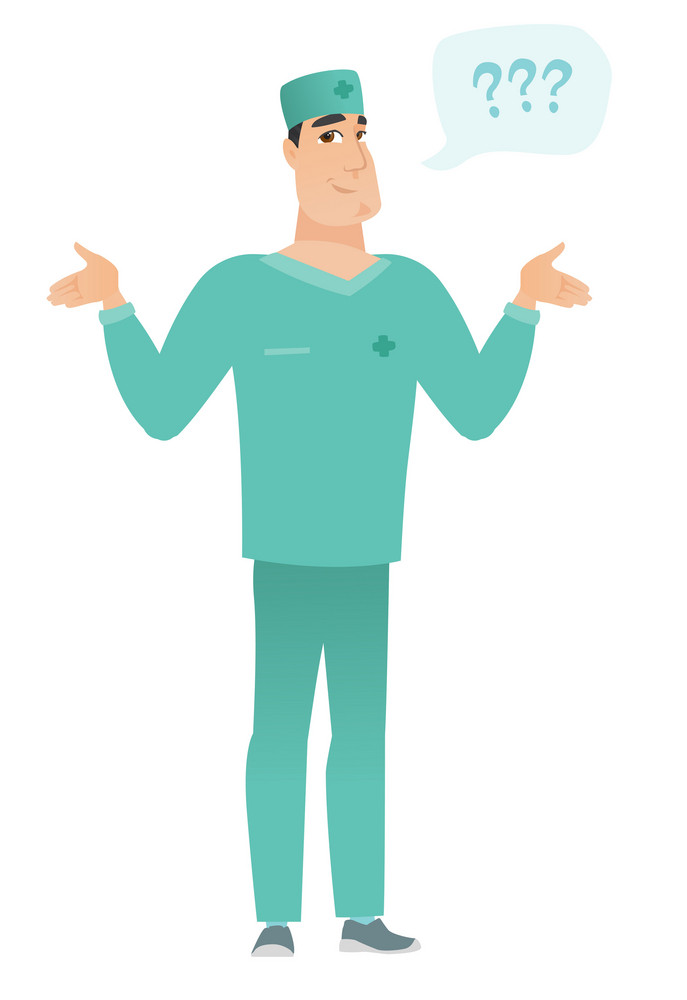 Confused doctor in uniform with spread arms. Full length of confused doctor with question marks. Confused doctor shrugging shoulders. Vector flat design illustration isolated on white background.