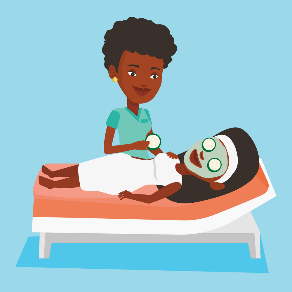 Cosmetologist applying cosmetic mask on face of woman in beauty salon. Woman with face mask relaxing in beauty salon. Girl having beauty treatments. Vector flat design illustration. Square layout.