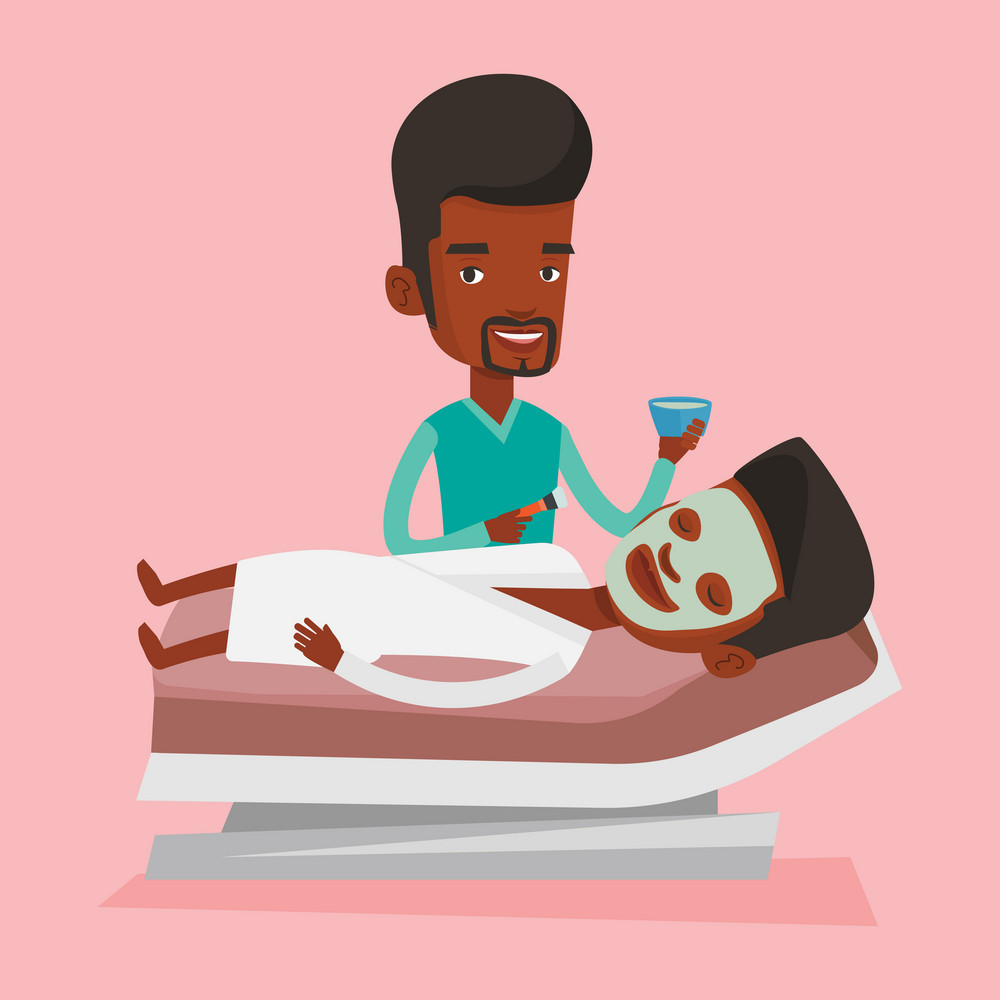 Cosmetologist applying facial cosmetic mask on face of male client in beauty salon. Young man lying on table in salon during cosmetology procedure. Vector flat design illustration. Square layout.