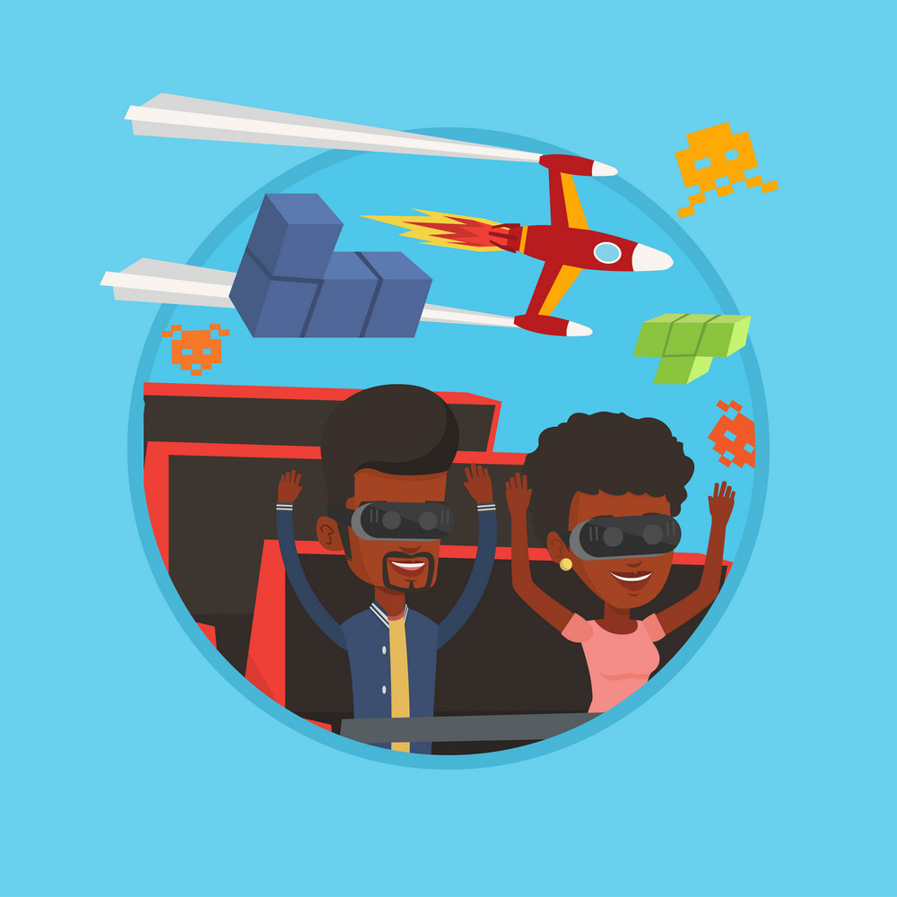 Couple in virtual reality headset riding on roller coaster. Couple in virtual reality glasses having fun in virtual amusement park. Vector flat design illustration in the circle isolated on background