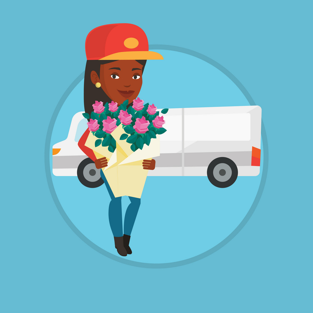 Courier with flowers on the background of delivery truck. Delivery courier holding bouquet of flowers. Courier delivering flowers. Vector flat design illustration in the circle isolated on background.
