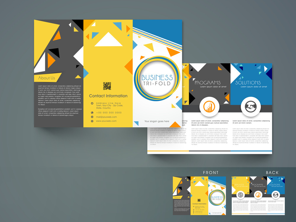 creative abstract trifold brochure template or flyer design with