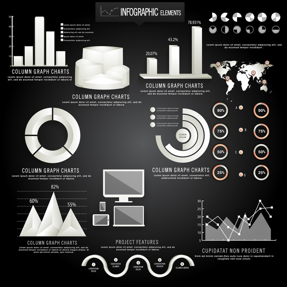Creative business infographic elements including glossy 3d creative business infographic elements including glossy 3d statistical bars pie charts coloumn graphs digital devices and world map on wooden background gumiabroncs Images