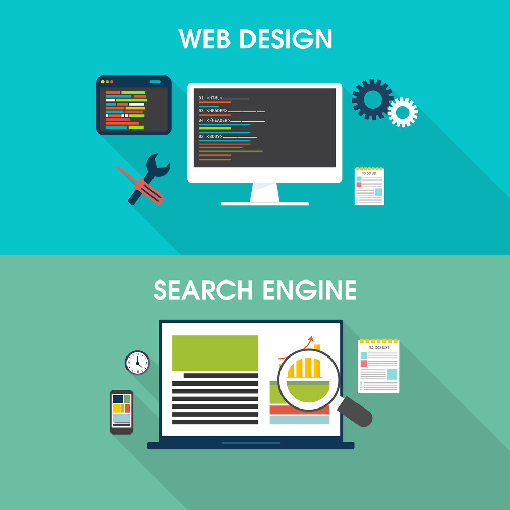Creative Business Infographic layout with digital device for web design, development, management, seo etc.