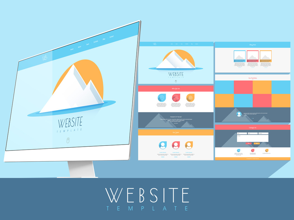 Creative colorful website template design with desktop for your business presentation.