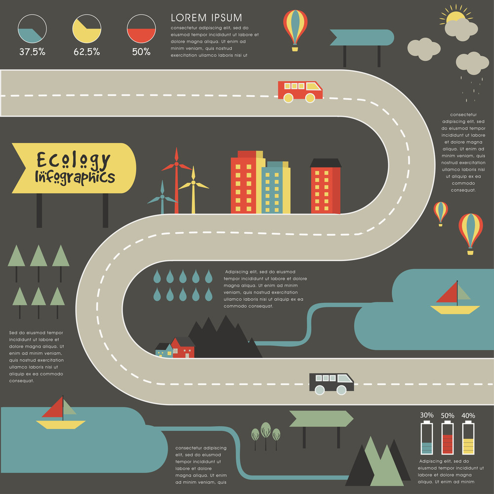 Creative ecological infographic elements with illustration of urban city buildings, roads and vehicles, and wind mill on grey background.