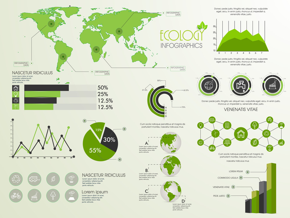 Creative Ecological Infographic template with various statistical elements set.