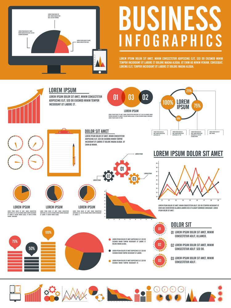 Creative Flat Statistical Infographic Template Layout For Your