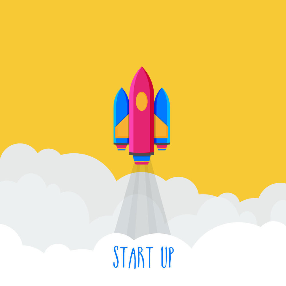Creative flying rocket for New Business Start Up concept.