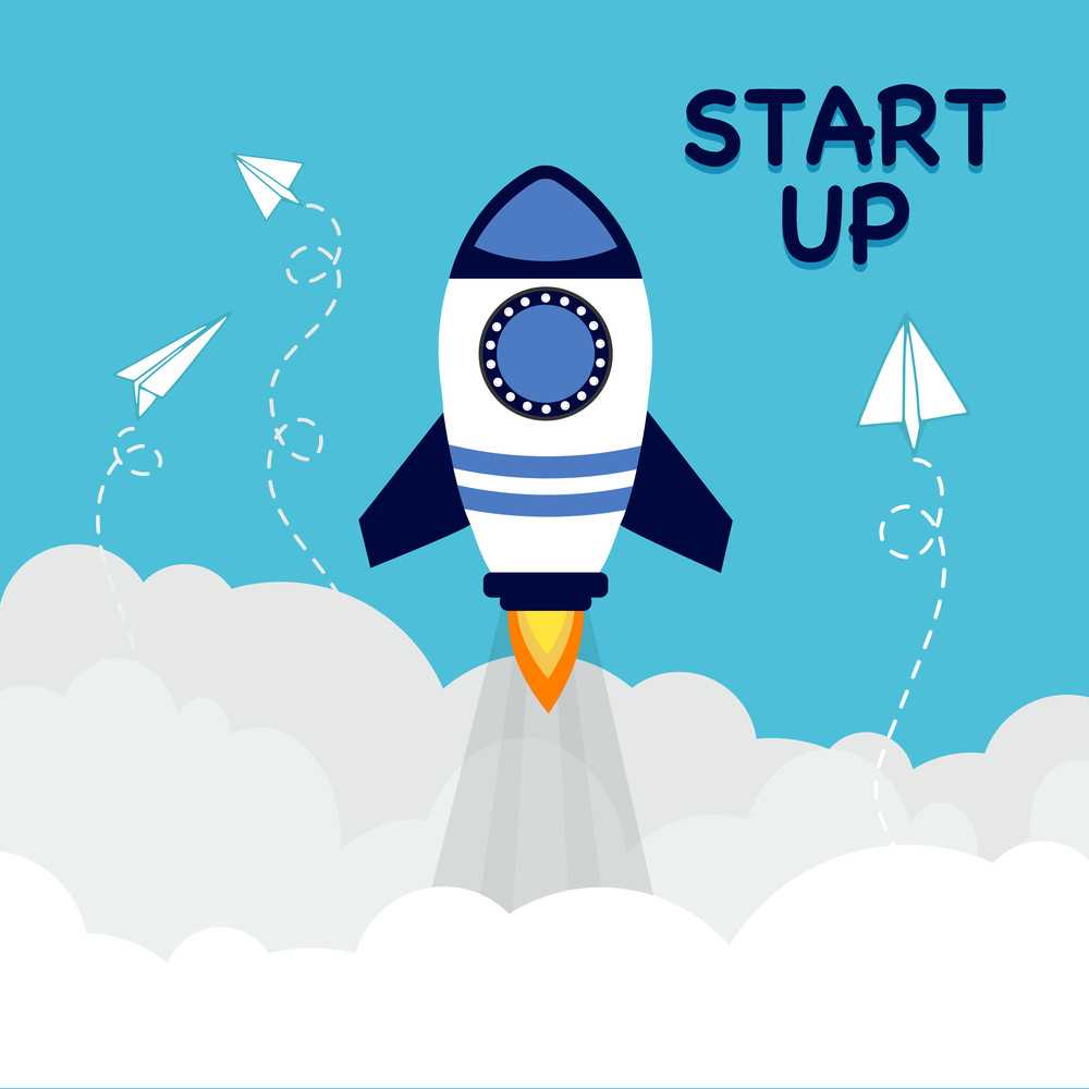 Creative flying rocket in the sky for New Business Start Up concept.