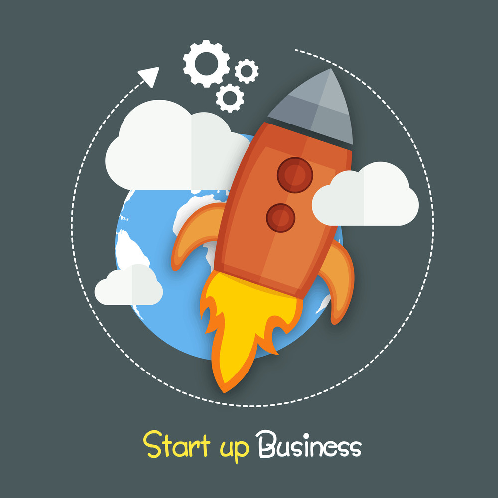 Creative flying start up rocket for new business development and launch a new innovation in market.