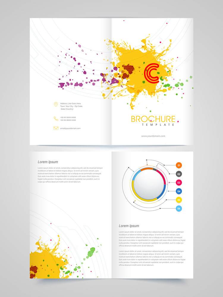 creative glossy brochure template or flyer presentation decorated