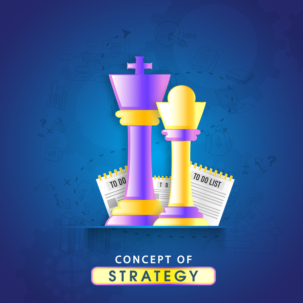 Creative glossy chess pieces on infographic elements decorated background for Business Strategy concept.