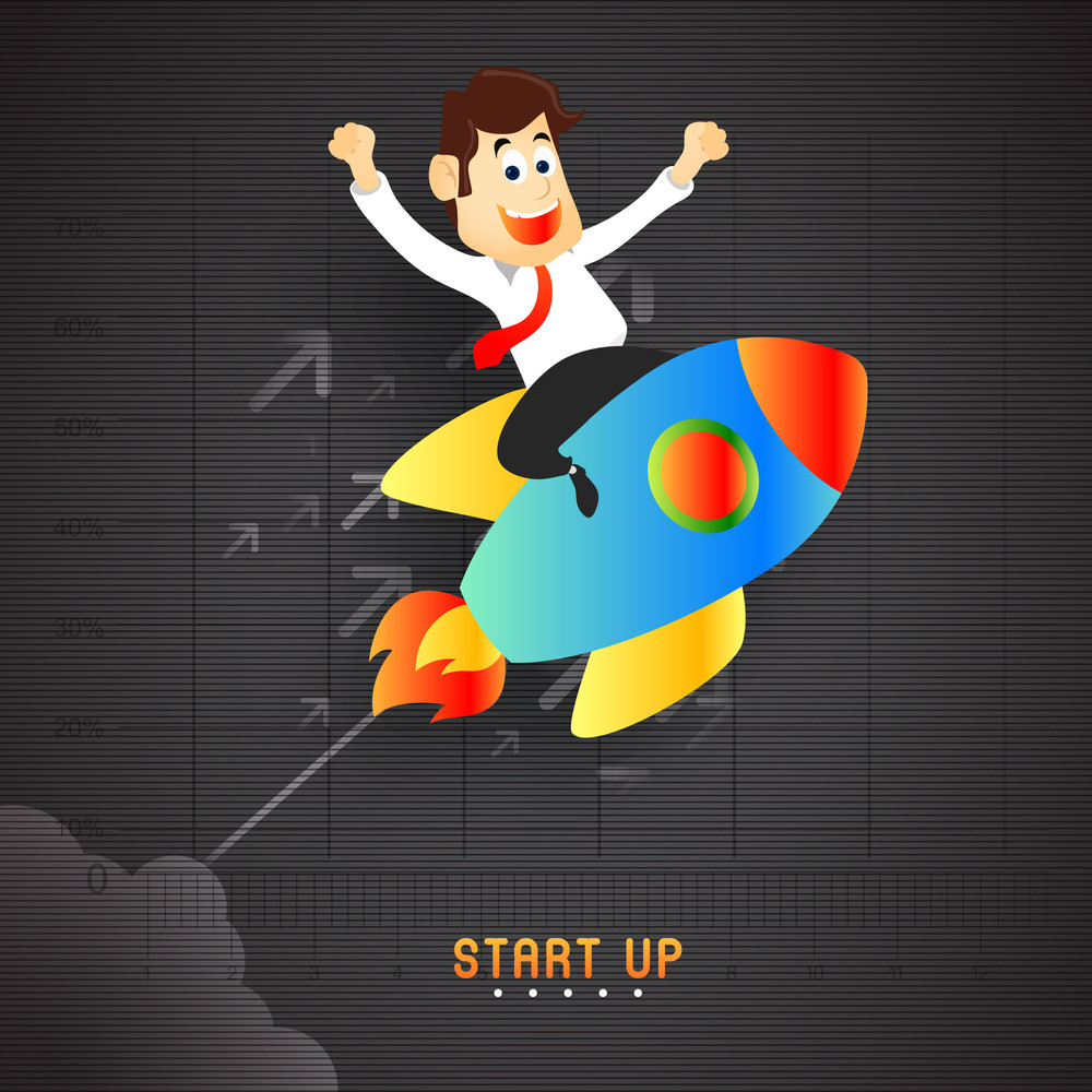 Creative illustration of a happy Businessman flying on rocket for new Business Start Up concept.
