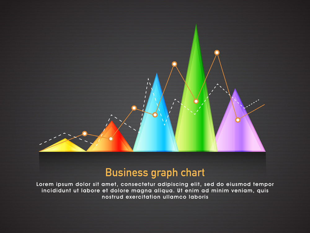 Creative infographic element including colorful statistical graph on grey background for your Business presentation.