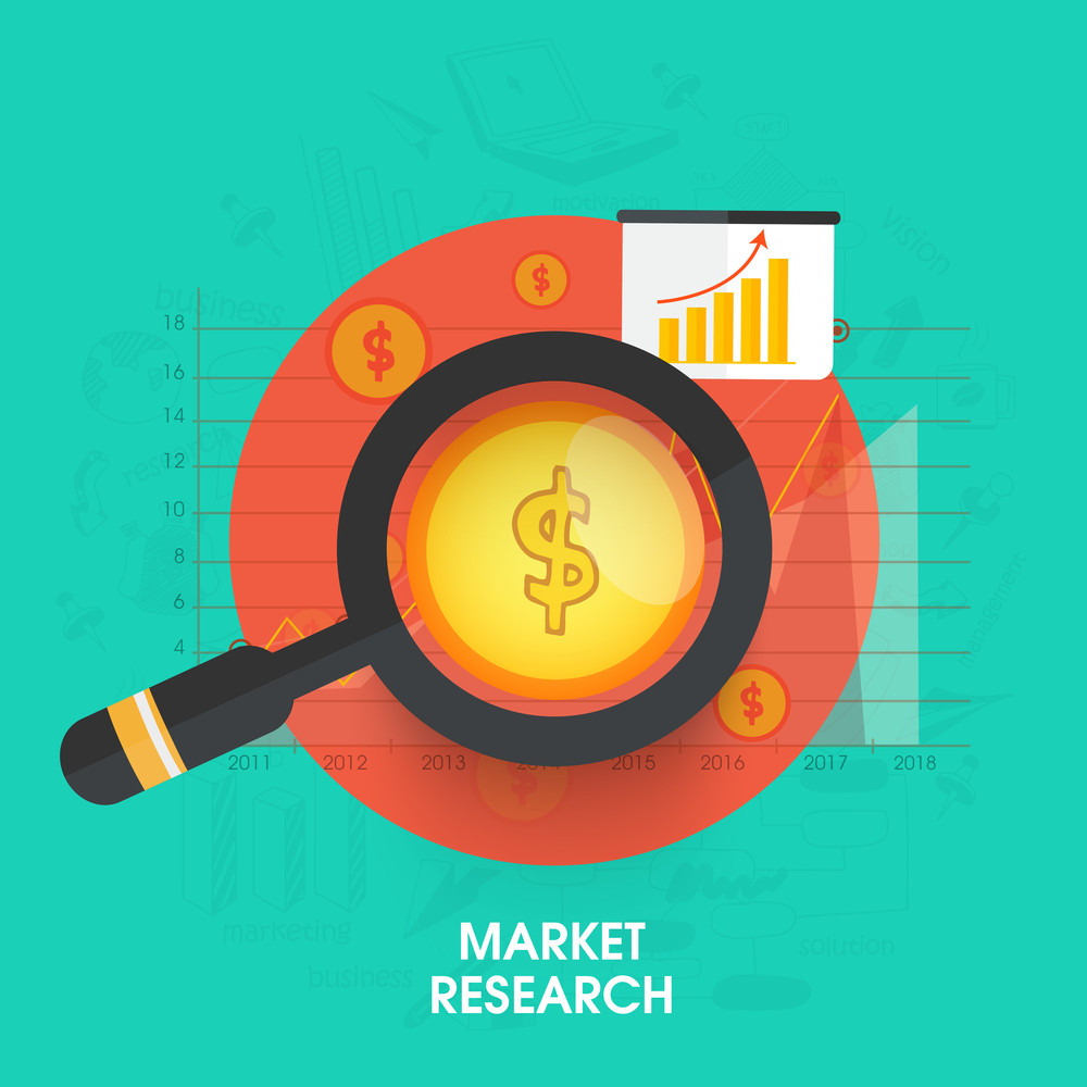 Creative infographic layout with dollar symbol in magnifying glass for Market Research.
