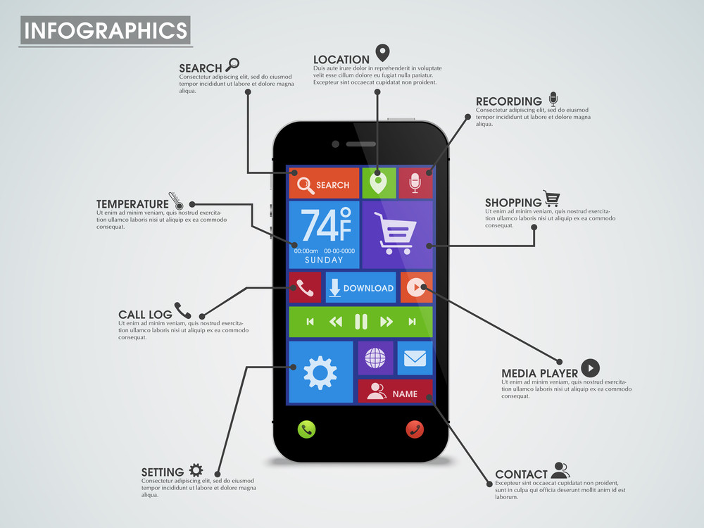 creative infographic template layout with smartphone presentation