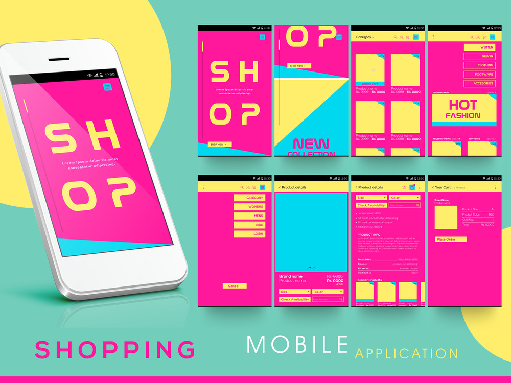 creative mobile user interface screens with smartphone presentation