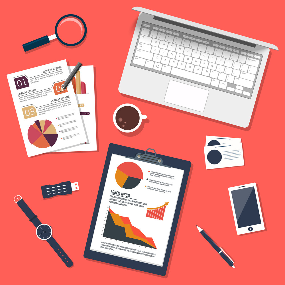 Creative modern digital devices with Infographic Charts, Elements for your Business.