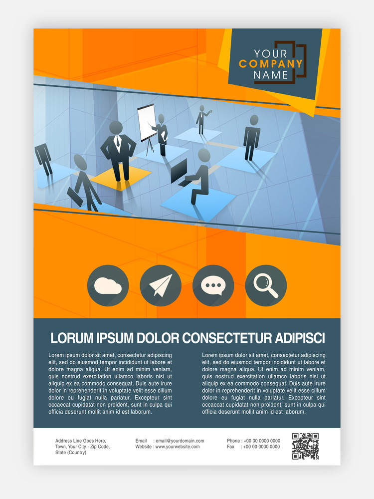 Creative professional Template, Brochure or Flyer presentation with illustration of working people for Business concept.