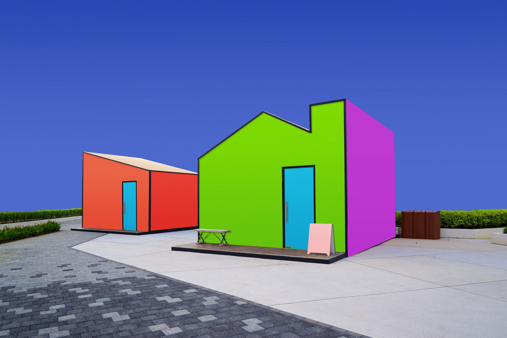 Creative surreal street with blank colorful stickers