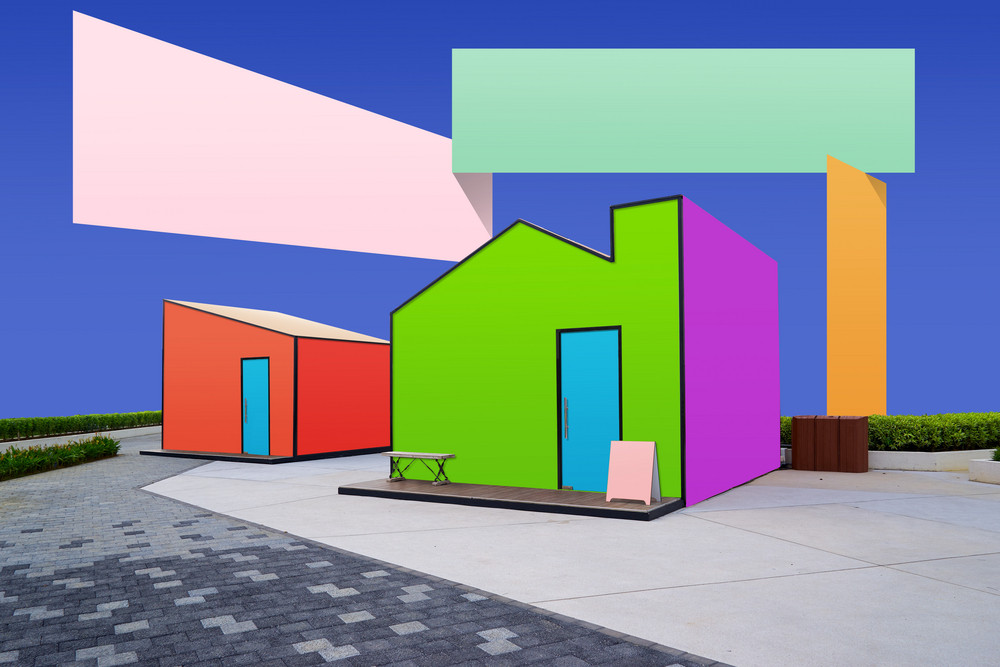 Creative surreal street with blank colorful stickers .