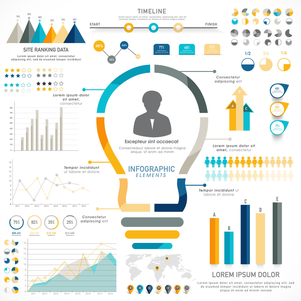 creative timeline infographic elements with statistical graphs