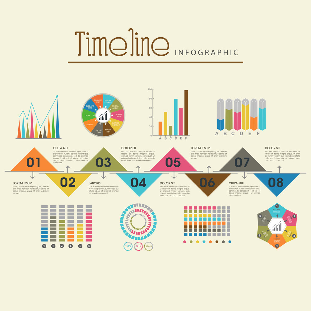 creative timeline infographic template layout with various colorful
