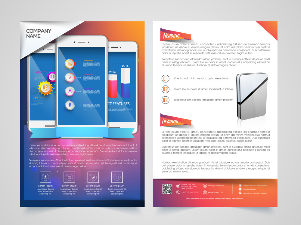 creative two page brochure template or flyer design with