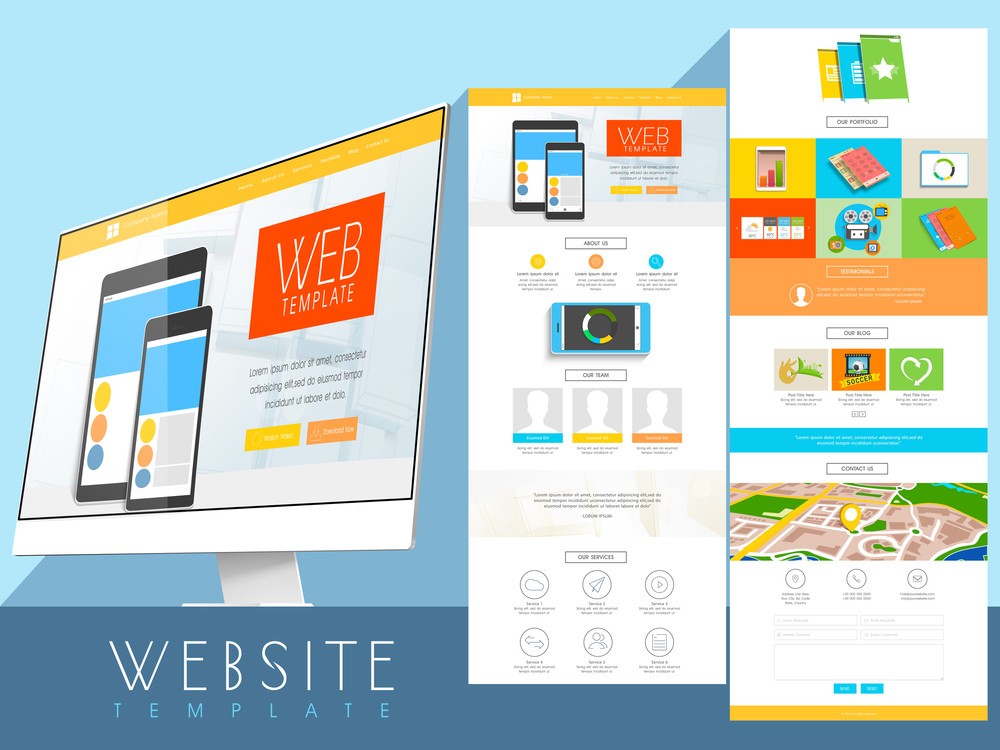 Creative two pages website template layout with computer monitor ...