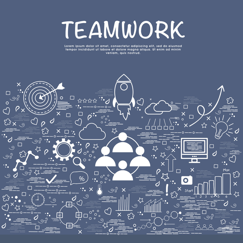 Creative various Business infographic elements for Teamwork concept.