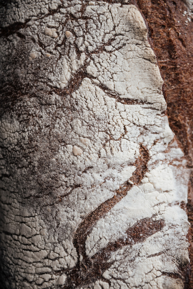 Cropped photo of bread with flour at bakery