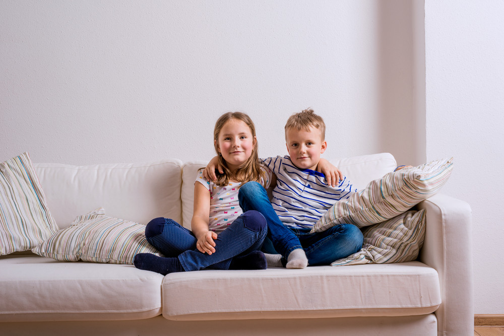 Super Cute Little Boy And Girl Sitting On A White Couch Studio Squirreltailoven Fun Painted Chair Ideas Images Squirreltailovenorg