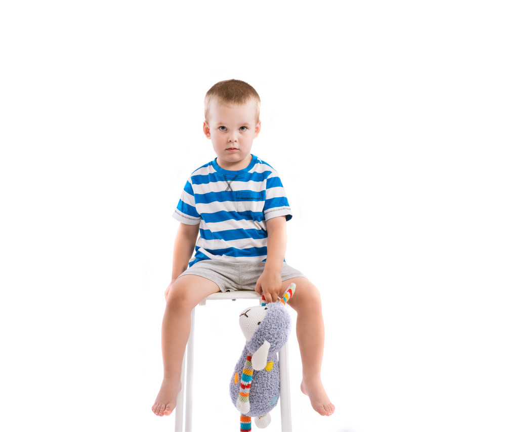 cute little boy. studio shot on white background. royalty-free stock