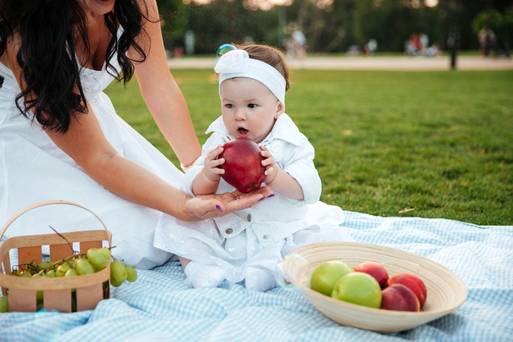 Cute little girl eating big red apple on picnic in park