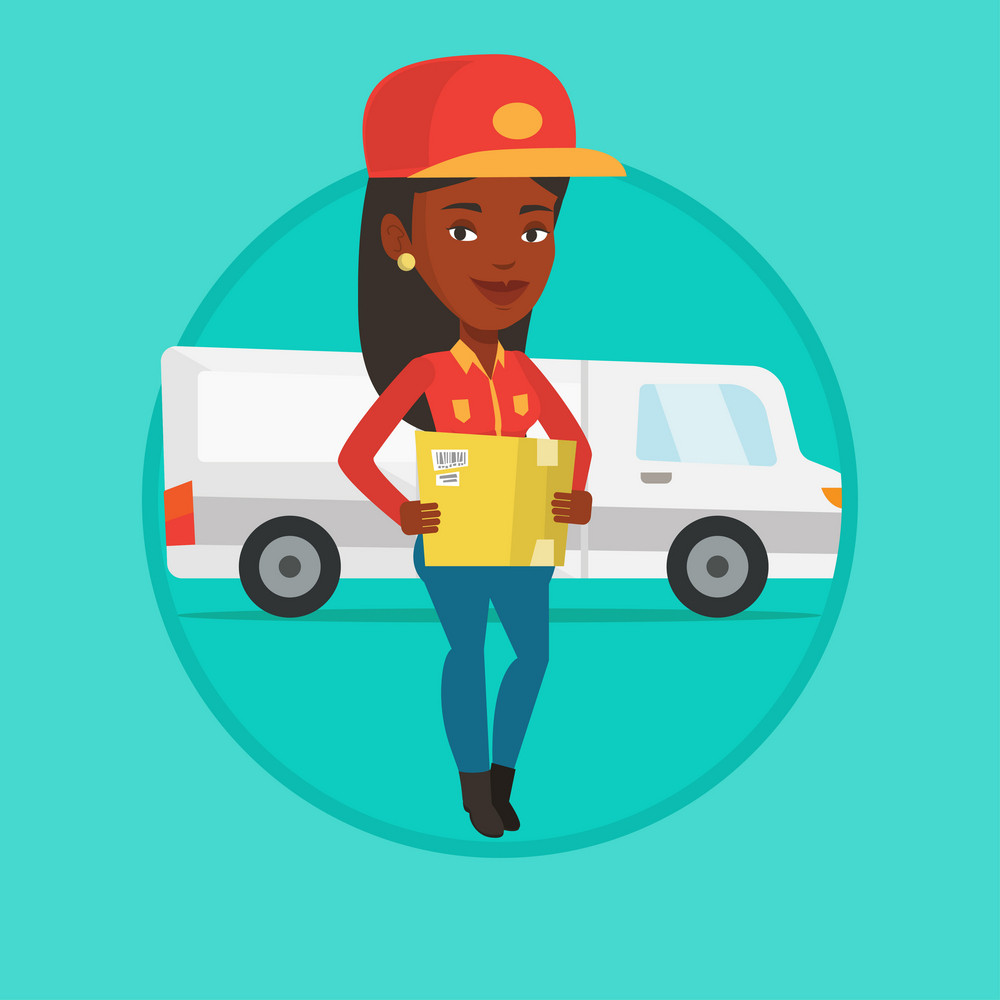 Delivery courier holding box on the background of truck. Delivery courier carrying cardboard box. Delivery courier with box in hands. Vector flat design illustration in circle isolated on background.