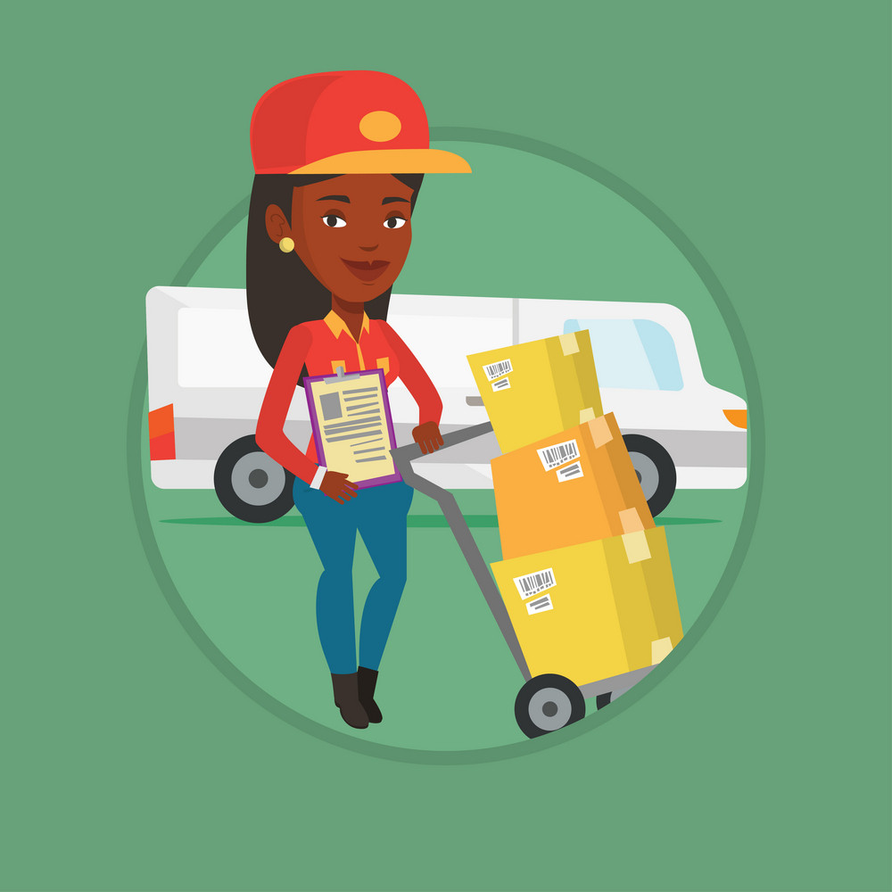 Delivery courier with cardboard boxes on trolley. Delivery courier holding clipboard. Courier standing in front of delivery van. Vector flat design illustration in the circle isolated on background.