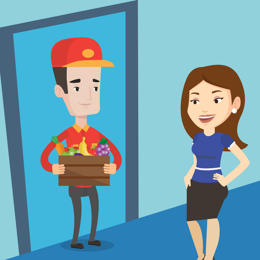 Delivery man delivering online grocery shopping order. Woman receiving groceries from delivery man at home. Man delivering groceries to customer at home. Vector flat design illustration. Square layout